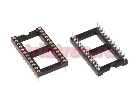 DS1001-24 (SCLM-24) DIP шаг 2.54мм разъем панель цанговая широкая 24 контактов CONNFLY