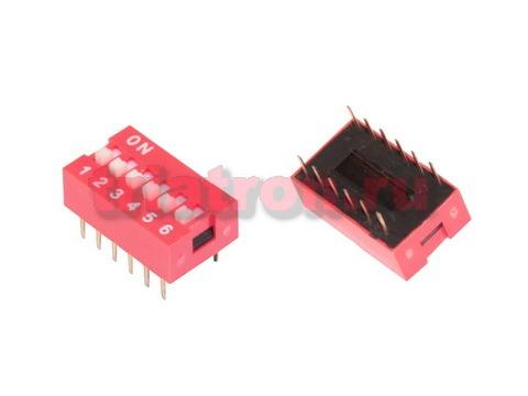 DS 1040- 6 DIP DS-06 (SWD1-6) 6 позиции шаг 2.54мм (d=7.62мм) переключатель CONNFLY