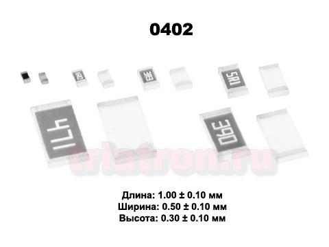 0ом 5% RS-02 1/16W (0402) Чип резистор