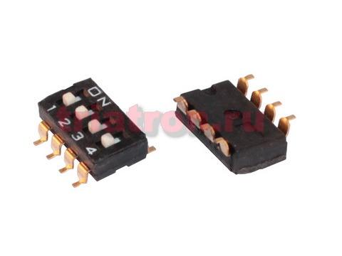 DS 1040- 01- 4 SMD DS-4S (SWD4-4) 4 позиции шаг 2.54мм переключатель CONNFLY