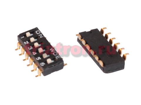DS 1040- 01- 6 SMD DS-6S (SWD4-6) 6 позиции шаг 2.54мм переключатель CONNFLY