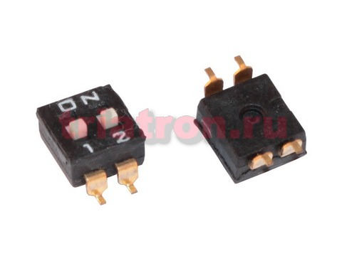 DM-02 (SWD4-2) SMD 2 позиции шаг 2.54мм переключатель Daier