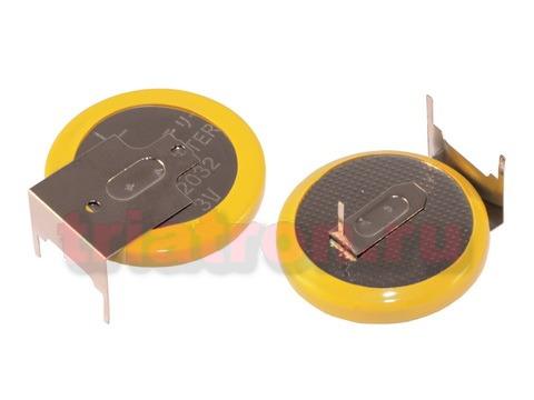 CR2032/1GU2, (3V) 15.2мм, 3 вывода, гориз. эл. питания дисковый