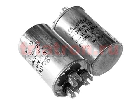 25+1,5мкф 450VAC 5% (50Х75) CBB65-C (3 выв.) клеммы пусковой конденсатор DF