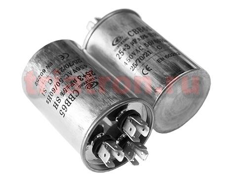 25+3,0мкф 450VAC 5% (50Х75) CBB65-C (3 выв.) клеммы пусковой конденсатор DF